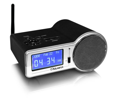 Aluratek AIRMM01F Internet Radio Alarm Clock with built-in WiFi (Black)