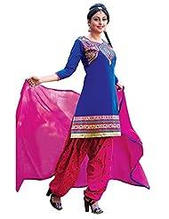 Vbuyz Womens Resham Patialas Salwar Suit (Prns-7011_Blue & Pink)