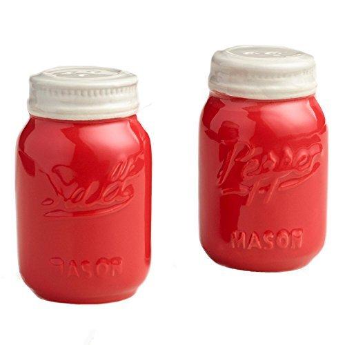 Red Ceramic Mason Jar Salt and Pepper Shaker (Jar Salt compare prices)