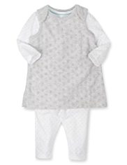 3 Piece Cotton Rich Spotted Pinafore, Bodysuit & Tights Outfit