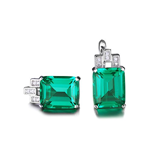 Jewelrypalace Women's  Emerald May Birtstone Cut 925 Sterling Silver Clip in Lever Back Earrings