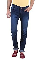 Routeen Indigo Blue Low Rise Slim Fit Cotton Branded Jeans for Men