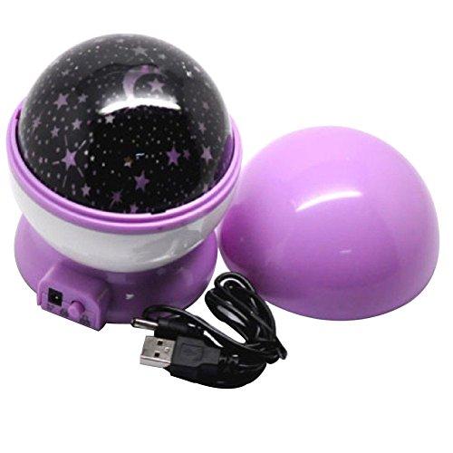 Rotating Romantic Star Moon Sky Cosmos Night Projector Light Lamp Purple - 1