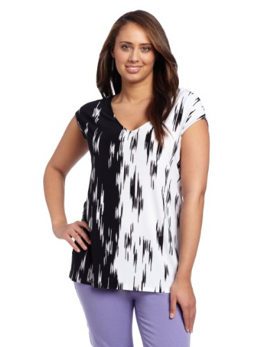 Jones New York Women's Plus-Size V-Neck Top Blouse, Jet Black Multi, 2X at Amazon.com