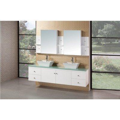 Design Element Dec071B-W Portland 72-Inch Double Sink Vanity Set In White Finish