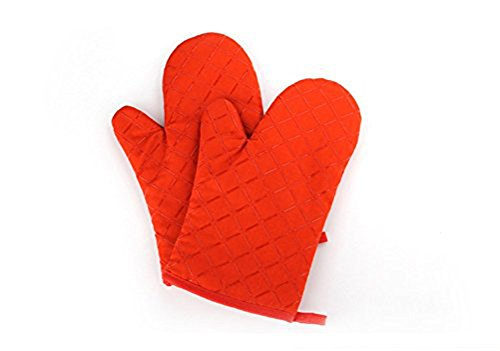 Prettygood Heat Resistant Quilted Thicker Longer Oven Mitts Set Oramge (Small Size Oven Mitt compare prices)
