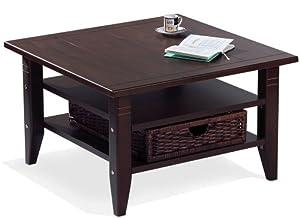 couchtisch im kolonialstil 80 x 80 cm mit rattankorb k che haushalt. Black Bedroom Furniture Sets. Home Design Ideas