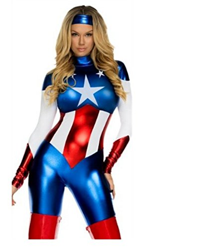 Ladies sexy Captain America USA Superhero Women Fancy Dress Costume - Standar Size 8 to 12