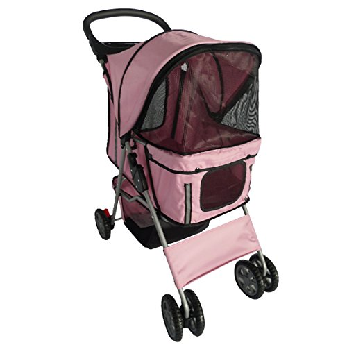 Pingkay Pink Color Deluxe Folding 4 Wheels Pet Gear Dog Cat Carrier Stroller