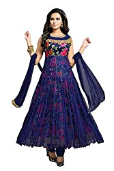 Clickedia Womens Georgette Flower Print Anarkali Dress Material (Blue Free Size)