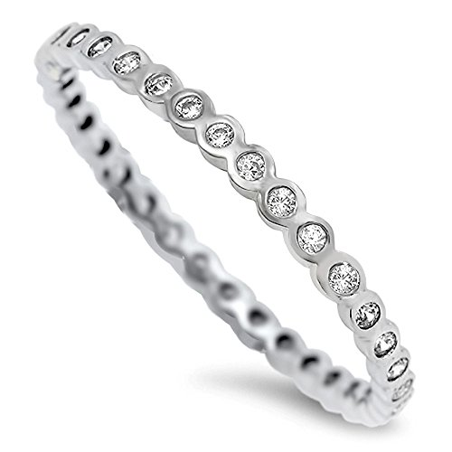 925 Sterling Silver 2Mm 2Mm Bezel Set Eternity Cz Cubic Zirconia Stackable Engagement Ring For Women - Ring Size: 5