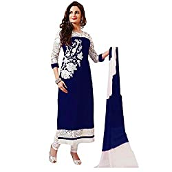 Om Fashion Women's Cotton Unstiched Salwar Suit with Dupatta ( om0004blue_Multi)