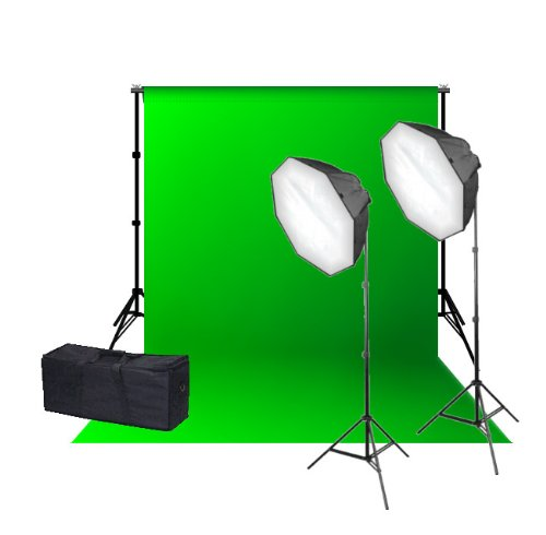 CanadianStudio Quick Set up Digital Video Continuous Softbox Lighting Green Backdrop Stand Kit