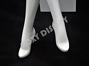 (MD-XD08W) ROXYDISPLAYTM Abstract female mannequin, sitting pose. Color Glossy white. Material: Fiber glass. Including 1 stool. (Color: MD-XD08W)