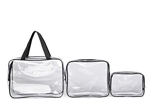 3pcs Cancella sacchi di PVC cosmetici per il trucco da toeletta Wash Bag Set da Viaggio