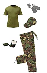 Kids pack 4 / Camo trousers. baseball cap, Olive t-shirt, dog tags and camo cream