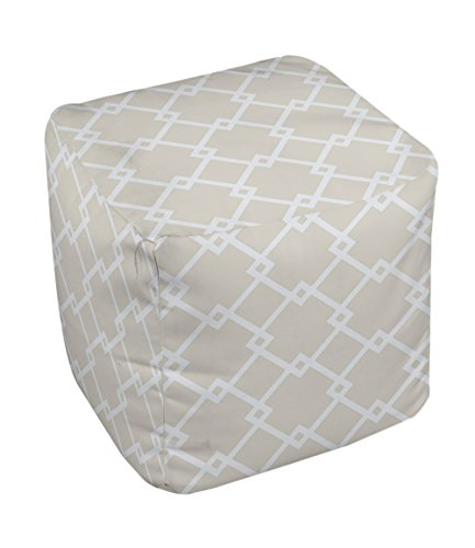 E by design FG-N10A-Oatmeal-18 Geometric Pouf