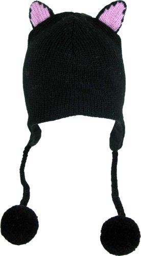 DeLux Kitty Cat Ears Black Wool Pilot Animal Cap/Hat with Ear Flaps and Poms