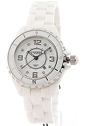 Akribos XXIV AKR485WTN Womens Allura White Ceramic Genuine Crystals Sapphire Watch