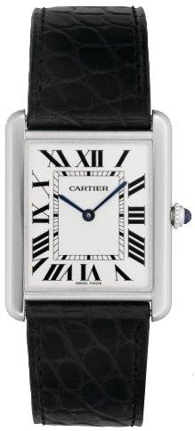 Cartier Men's W1018355 Tank Solo Stainless Steel Black Leather Watch