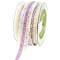 May Arts 1-Inch Wide Ribbon Ivory Crochet with Lavender Velvet