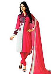Salwar House Pink Unstitched Synthetic Printed Dress Material with Dupatta