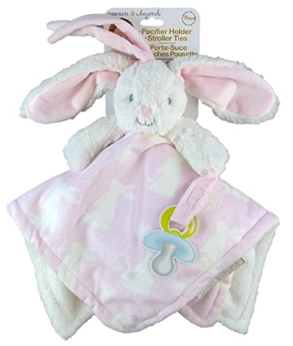 Blankets & Beyond Plush Nunu with Pacifier Holder & Stroller Ties (Pink Patterned Bunny)