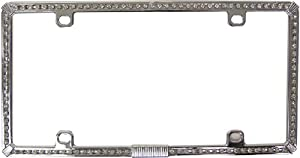 Custom Accessories 92834 Chrome License Plate Frame with White Bling by Custom Accessories