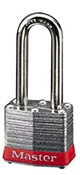 Master Lock 3KALFRED Safety Lockout Keyed-Alike Padlock 1-9/16-inch Body with 1-1/2-inch Extra Length Shackle, Red Bumper