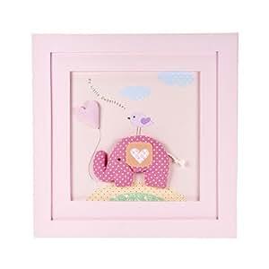 Rose petit l phant tenture photo encadr e pour b b s filles chambre de b b d coration amazon - Tenture chambre bebe ...