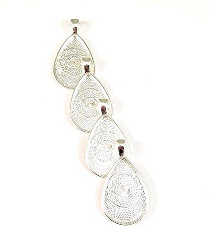 20 Deannassupplyshop Teardrop oval Pendant Trays -Silver Color - 20X30mm - Pendant Blanks Cameo Bezel Settings Photo Jewelry - Custom Jewelry Making