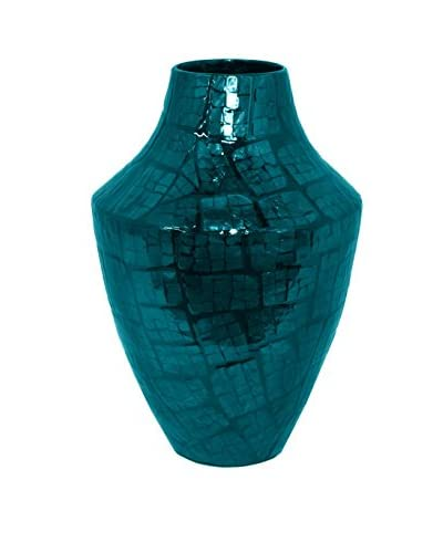 Three Hands Lacquered Bamboo Mosaic Vase, Blue/Green