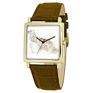 American Kennel Club Men's D1784S012 Cocker Spaniel Gold-Tone Brown Leather Watch