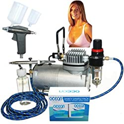 Professional Turbo Tan Airbrush Sunless Tanning System with both a Single-Action Suction Feed Airbrush and a Trigger Style Gravity Feed Airbrush Gun along with an Ocean Sunless Tanning Variety Sampler Pack (4 Different Solutions - 1 Pint Total)