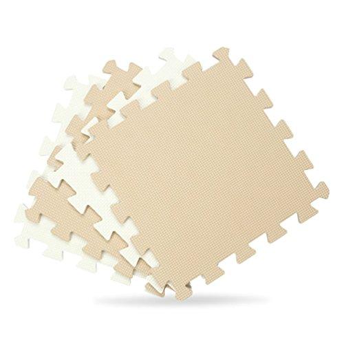 Tianmei Couleur Beige et Blanc Tapis de Jeux & d'Eveil Tapis de jeu en mousse tapis Puzzle Ensemble de 10 tapis mousse de sol