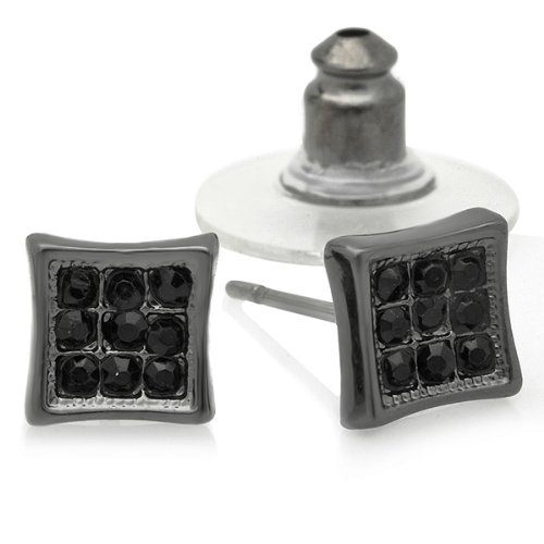 Black Rhodium Plated Stud Earrings 6.5 mm Kite Shaped Round Iced Cubic Zirconia Pushback Post