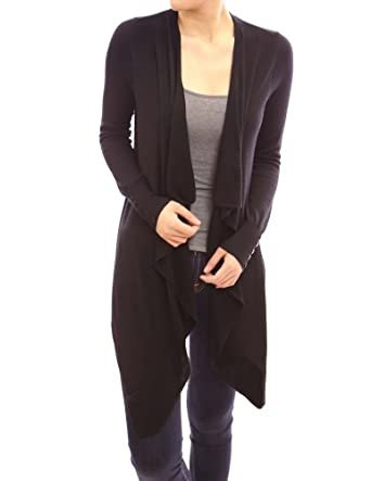 PattyBoutik Open Cascading Long Sleeve Ribbed Asymmetric Hem Light Cardigan Jumper (Black S)