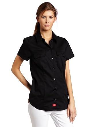 Dickies Women's Short Sleeve Work Shirt, Black, Small