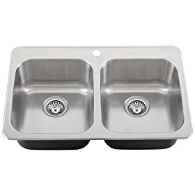 Ticor Drop-in/overmount 18-gauge Stainless Steel Double Bowl Kitchen Sink