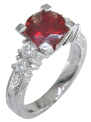 18KW Sunstone & Diamond Ring - Size 6 1/2