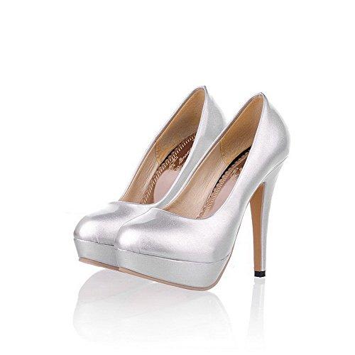 Voguezone009 Womens Closed Round Toe High Heel Platform Stiletto Pu Patent Leather Solid Pumps, Silver, 6.5 B(M) Us
