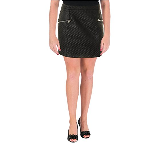 Aqua Womens Juniors Quilted Faux Zip Pocket Mini Skirt Black L (Womens Quilted Mini Skirt compare prices)