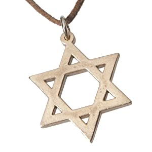 Star of David Peace Bronze Pendant Necklace on Adjustable Natural Fiber Cord