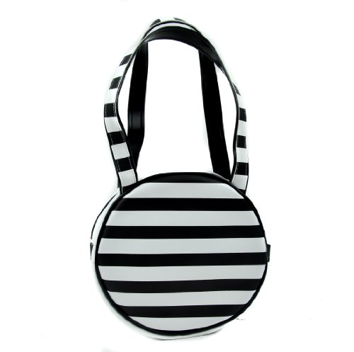 Black & White Stripe Small Round Purse Handbag