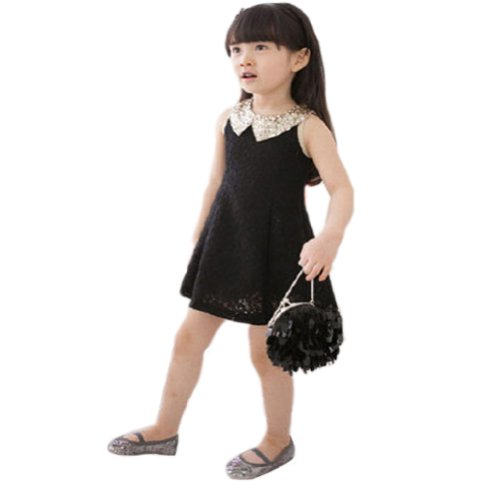 Urparcel Baby Gown Skirts Toddler Girls Bowknot Princess Lace Tutu Dress (6-7 Years, Black)
