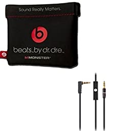 Original OEM Replacement Leather Pouch/Leather Bag for Dr. Dre Monster Beats Stereo Headset Headphones Earphones With 3.5mm Right Angle 800 AUX Cable and Replacement Headphone Cable for Dr. Dre Headphones Monster Solo Beats Studio, 1.2m Black