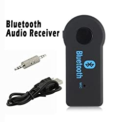 MVE(TM) Bluetooth 3.0 HandsFree Car Kit Bluetooth Music Receiver Adapter with Built-in Mic and 3.5mm Aux Output for Car Audio System, iPhone Samsung and Other Smartphones - BLACK