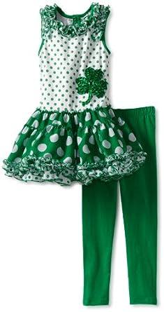 Rare Editions Little Girls' Tutu Legging Set, Green/White, 6