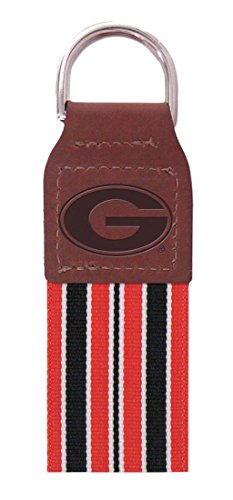 NCAA UGA Georgia Bulldogs Striped Ribbon Leather Embossed Key Chain (Bulldog Mom Keychain compare prices)