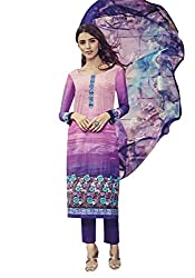 Lebaas Designer Purple Colour Lawn Cotton A-Line Suit (Unstitched Dress Material) - (With Discount and Sale Offer)